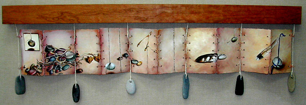 cathy weber - art - painting - woman - oil - montana - painting - oil - stick - heart - poem - object - stone