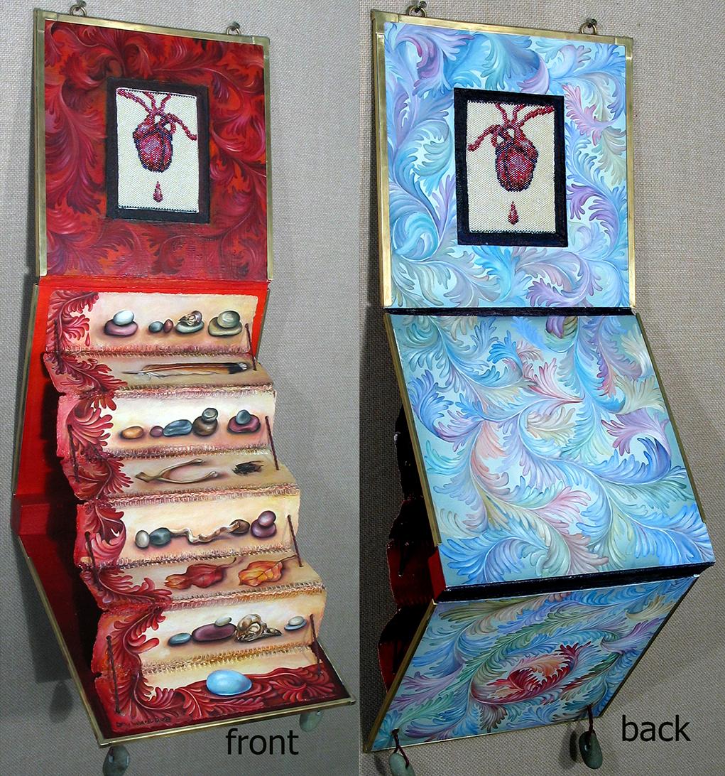07.054 - cathy weber - art - painting - heart -woman - book art - artist book - book- object - montana - oil painting - bead - heart rock - object poem