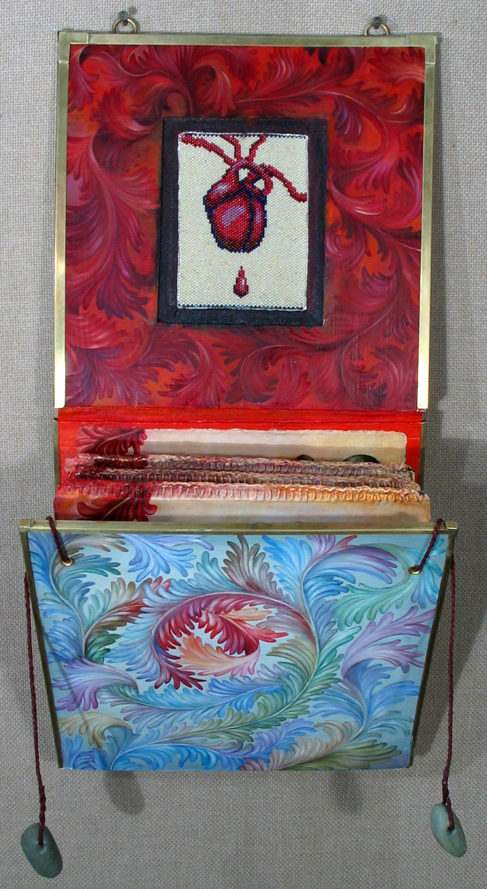 07.054 - cathy weber - art - painting - heart -woman - book art - artist book - book- object - montana - oil painting - bead - heart rock - object poem