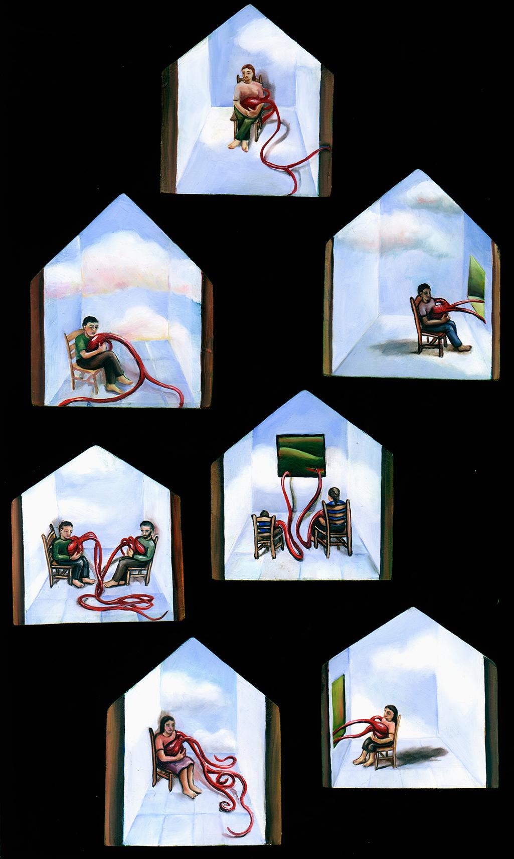 cathy weber - art - painting - woman -house - book art - artist book - book- montana - oil painting - crochet - nest - feather - egg - heart