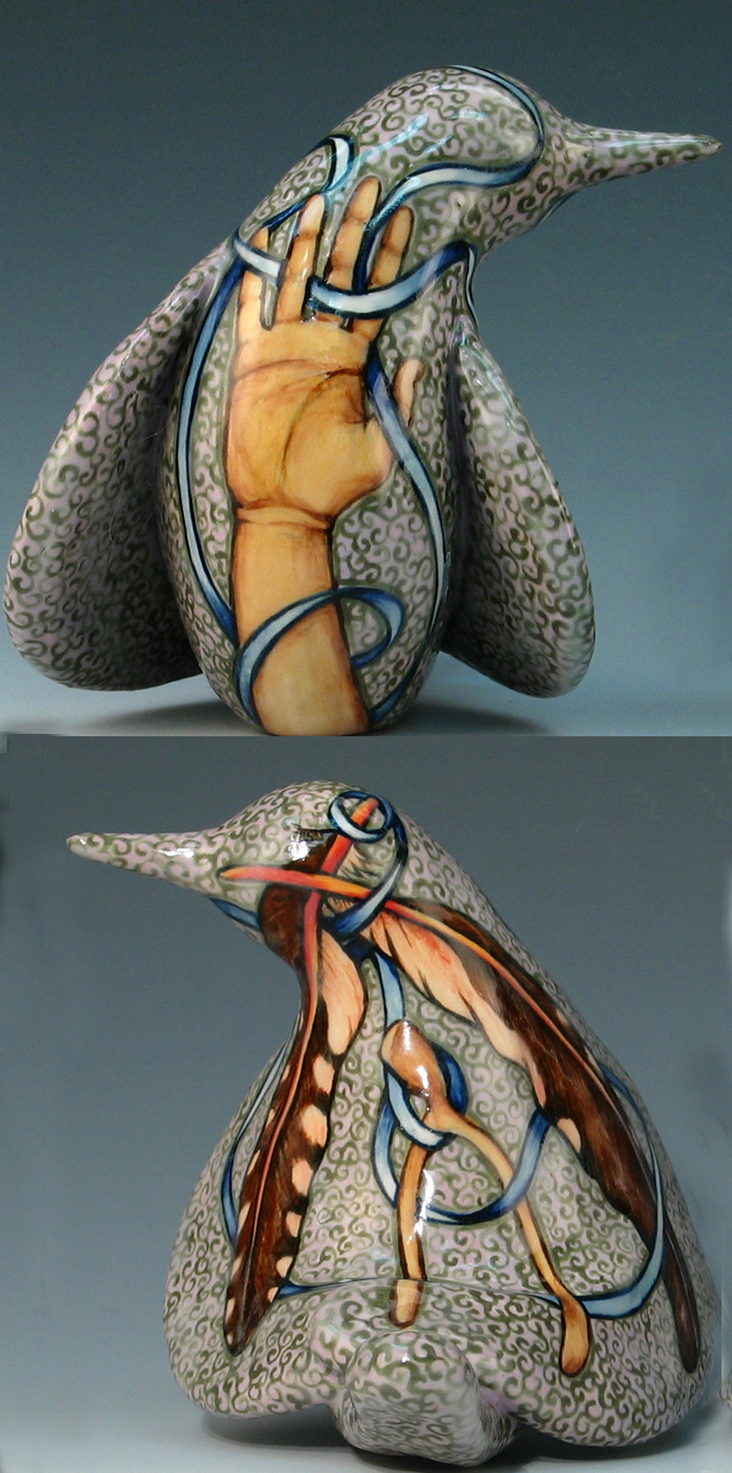 cathy weber - art - painting - woman - montana - ceramic - porcelain - bird - narrative - clay - glazed