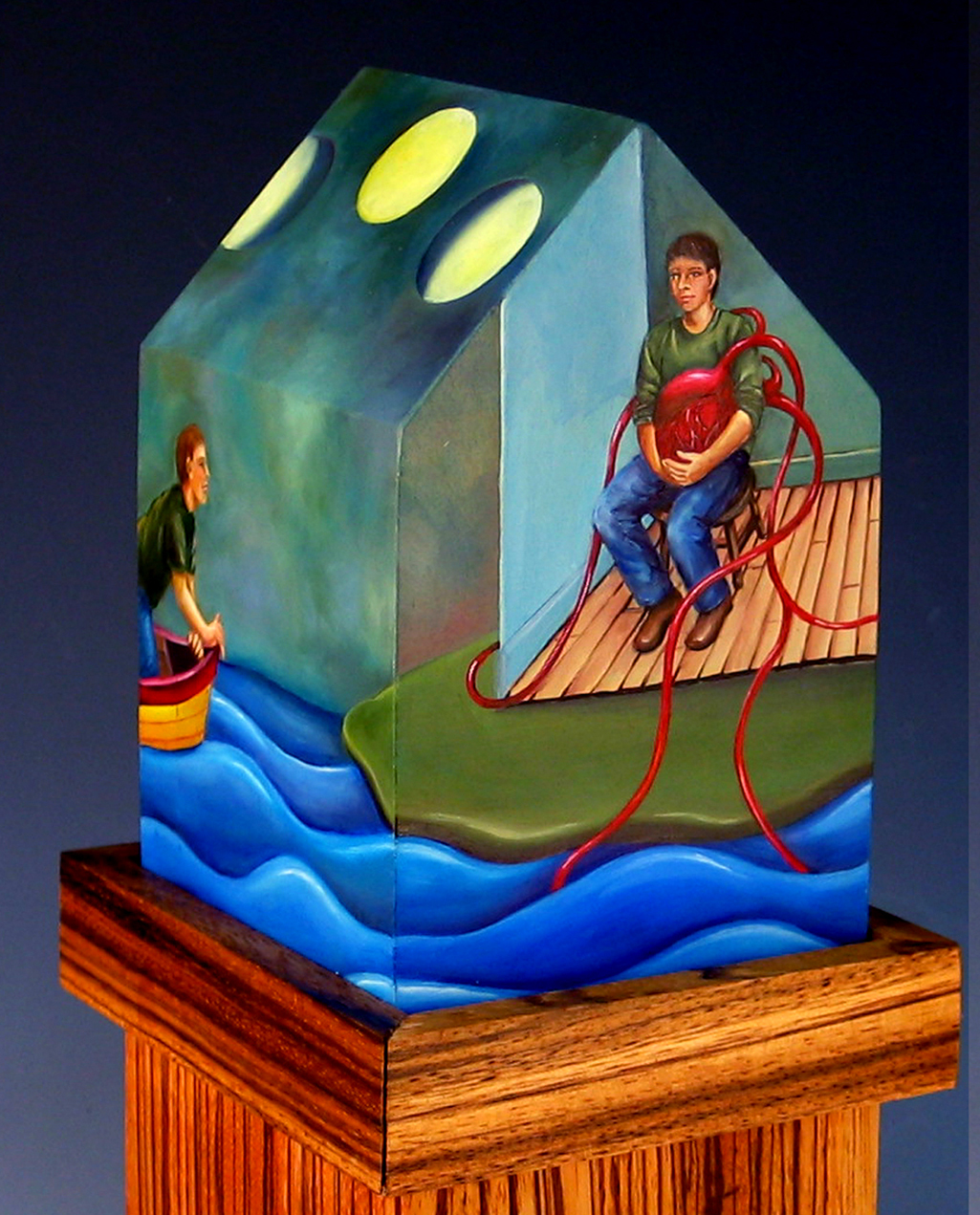 cathy weber - art - painting - woman -house - book art - artist book - book- river - montana - oil painting - wishbone - boat -ladder - moon