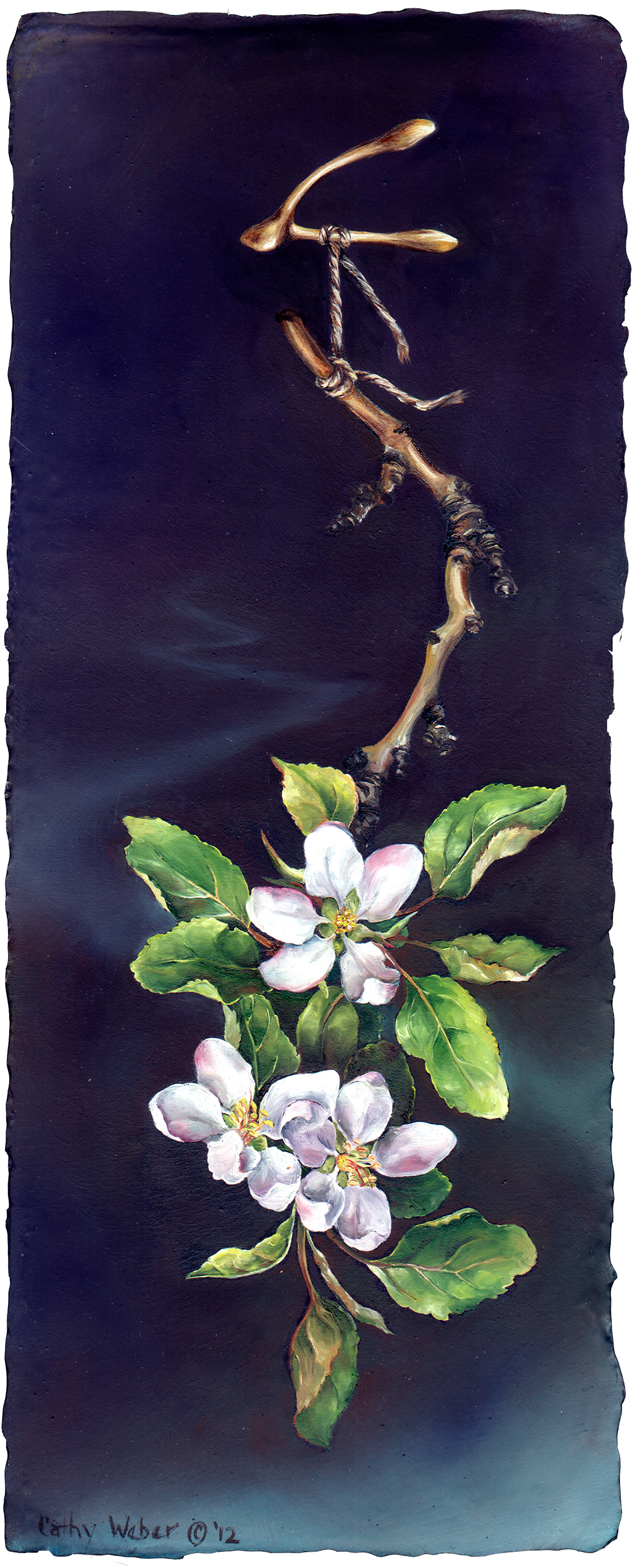 cathy weber - art - painting - woman - oil - montana - painting - oil - botanical - ribbon - apple - blossom - river - oil painting