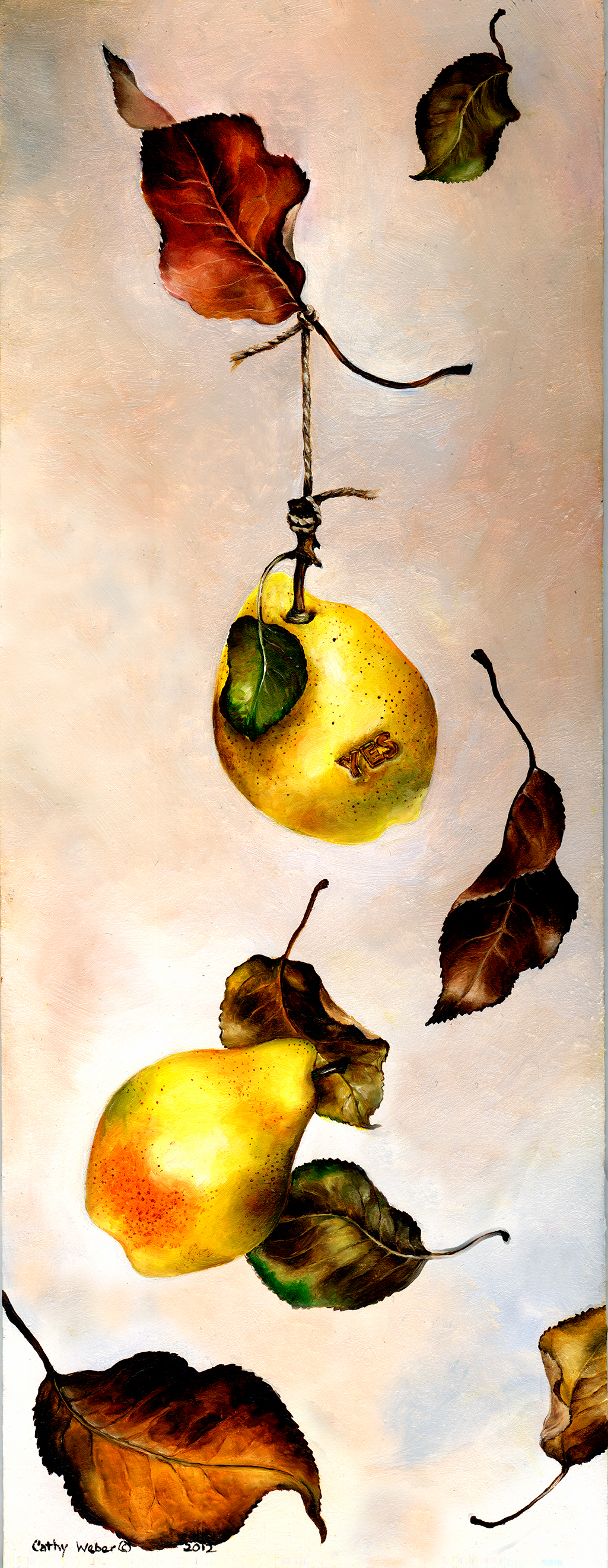 cathy weber - art - painting - woman - oil - montana - oil - object - pear