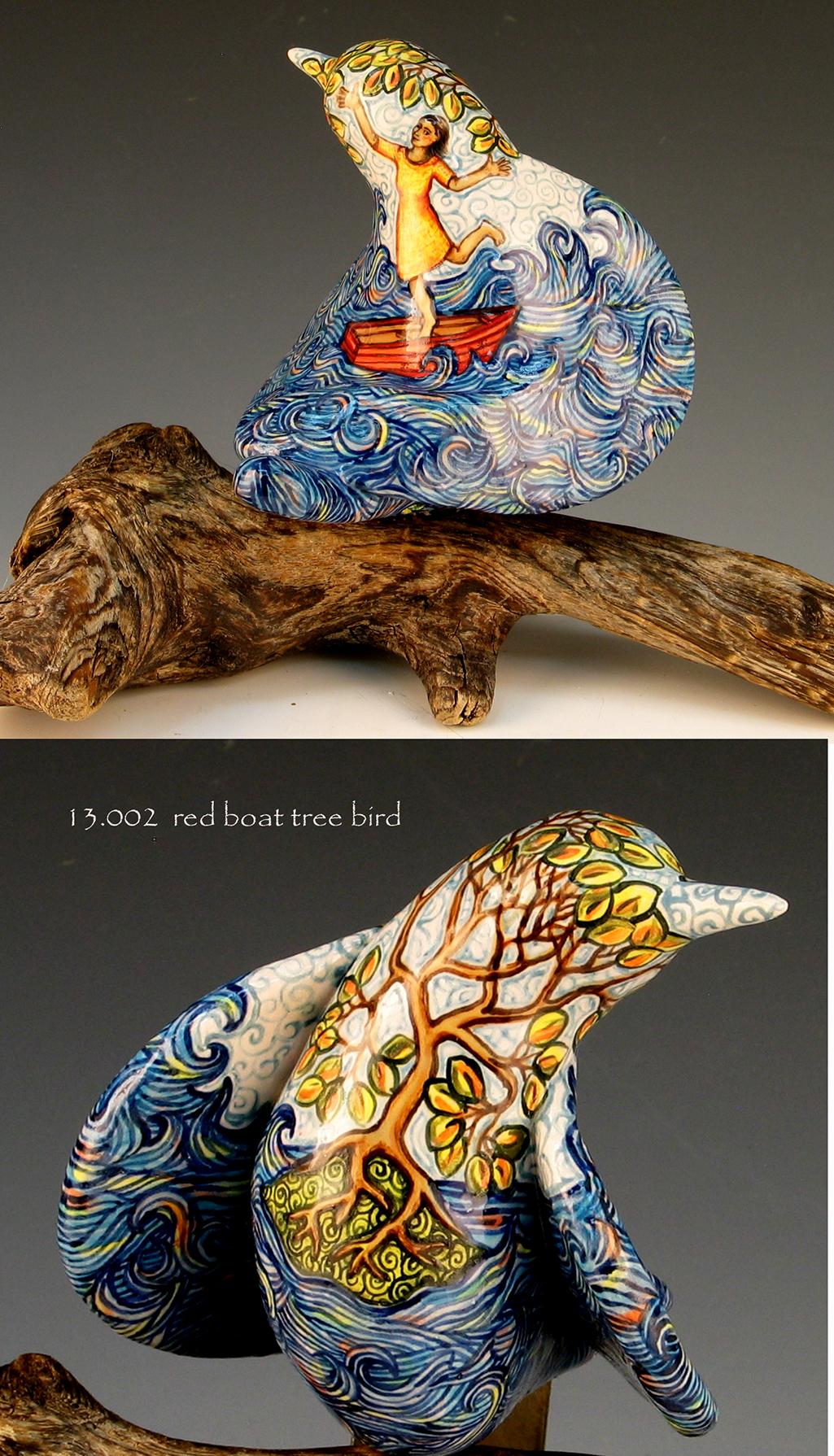 cathy weber - art - painting - woman - montana - ceramic - porcelain - bird - narrative - clay - glazed