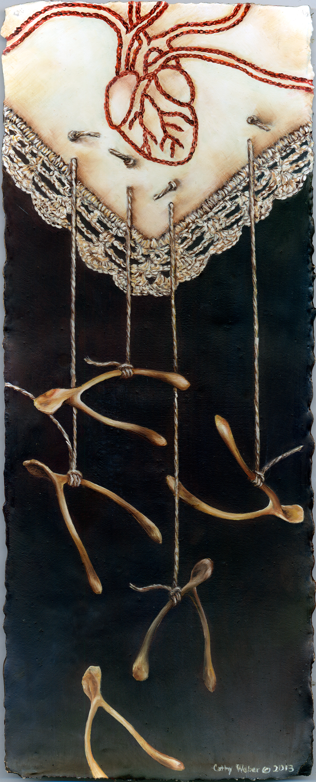 cathy weber - art - painting - woman - oil - montana - painting - oil - botanical - heart - lace -wishbone - embroidery - oil