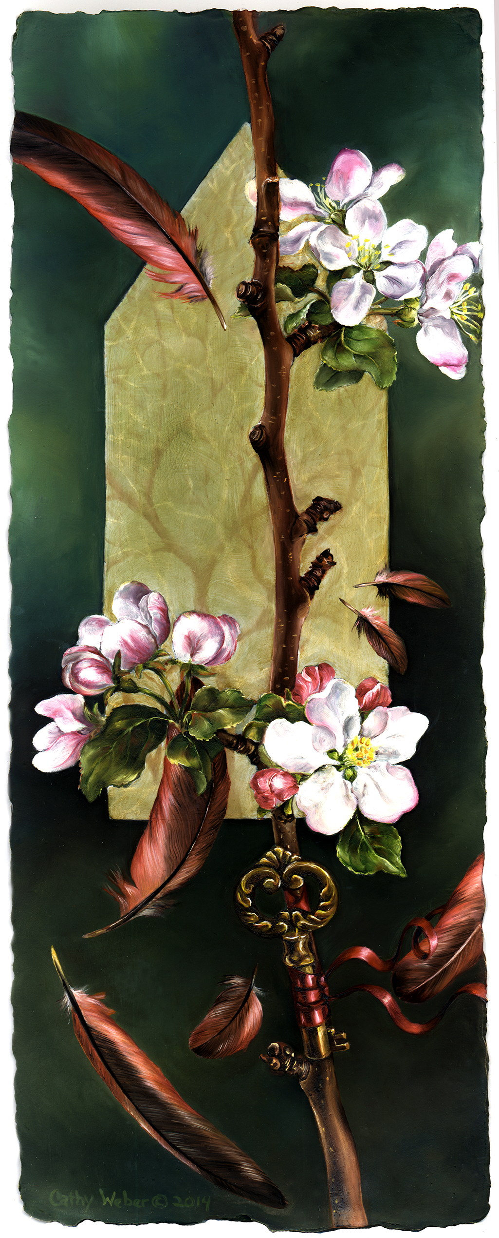 cathy weber - art - painting - woman - oil - montana - painting - oil - botanical - ribbon - apple - blossom - house - oil painting