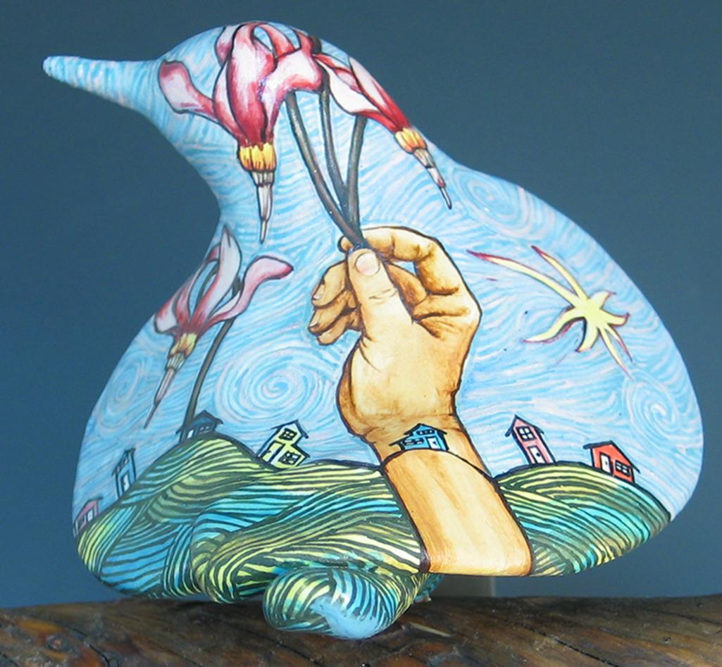 cathy weber - art - painting - woman - - montana -ceramic - porcelain - bird - narrative - clay- glazed-