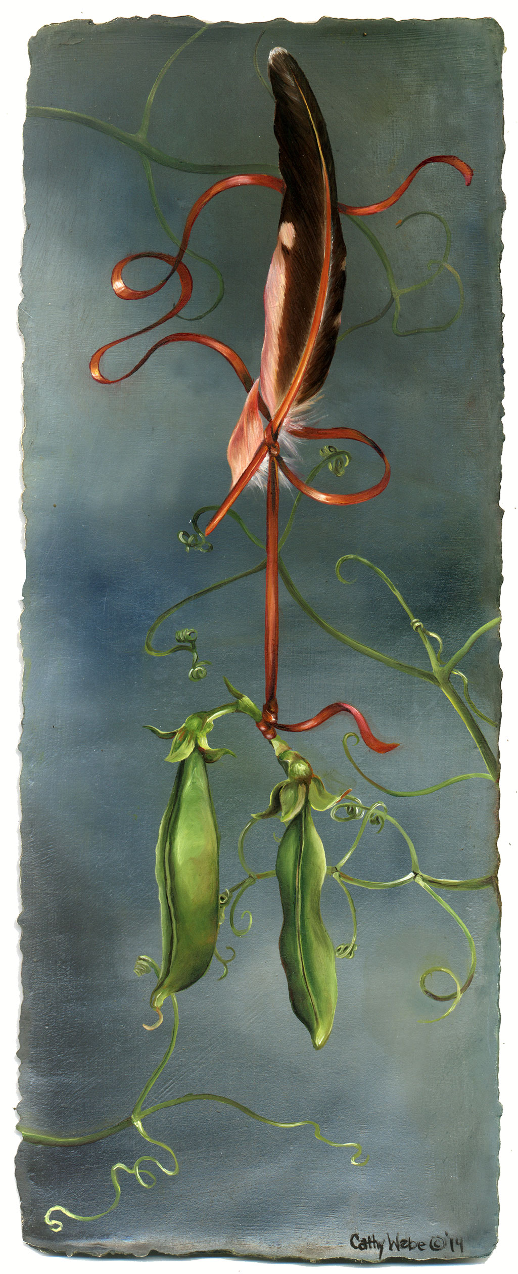 cathy weber - art - painting - woman - oil - montana - painting - parchment - skin - botanical - ribbon - pea - oil painting