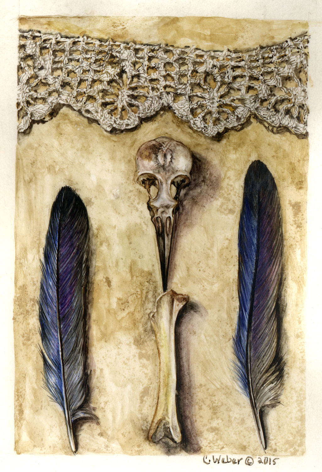 cathy weber - art - lace - scull - woman - montana - parchment - feather - bird