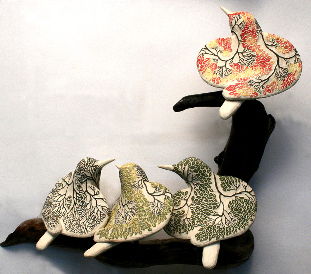 cathy weber - art - clay - woman - montana - ceramic - porcelain - bird - forest - carved - seasons - tree