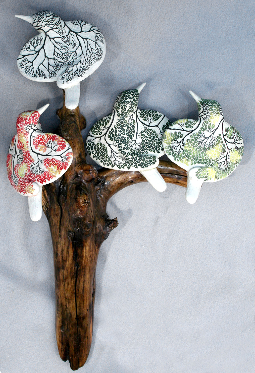 cathy weber - art - clay - woman - montana - ceramic - porcelain - bird - season - forest - carved - tree