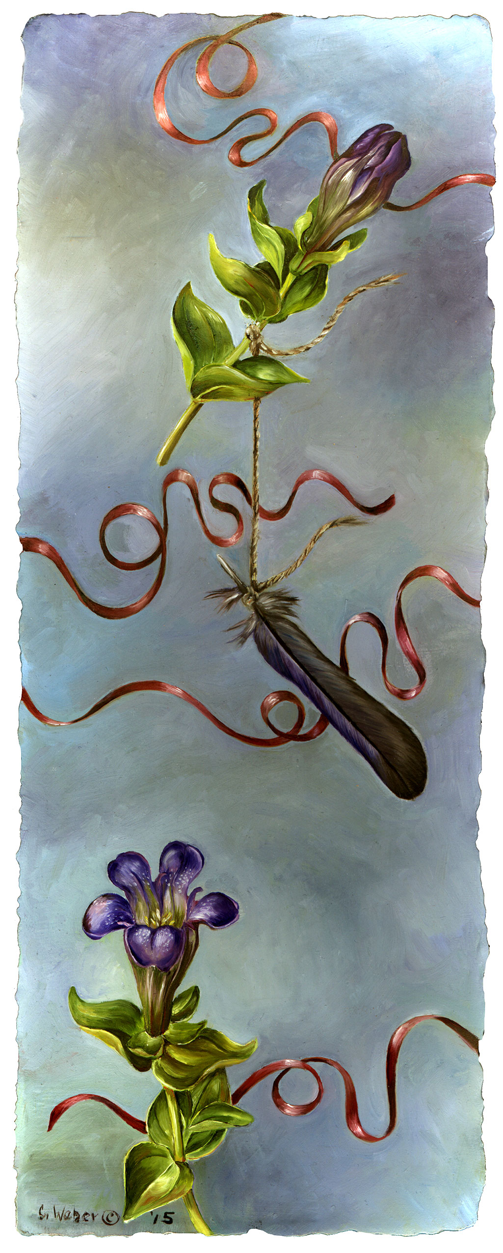 cathy weber - art - painting - woman - oil - montana - painting - botanical - ribbon - flower - gentian - oil painting
