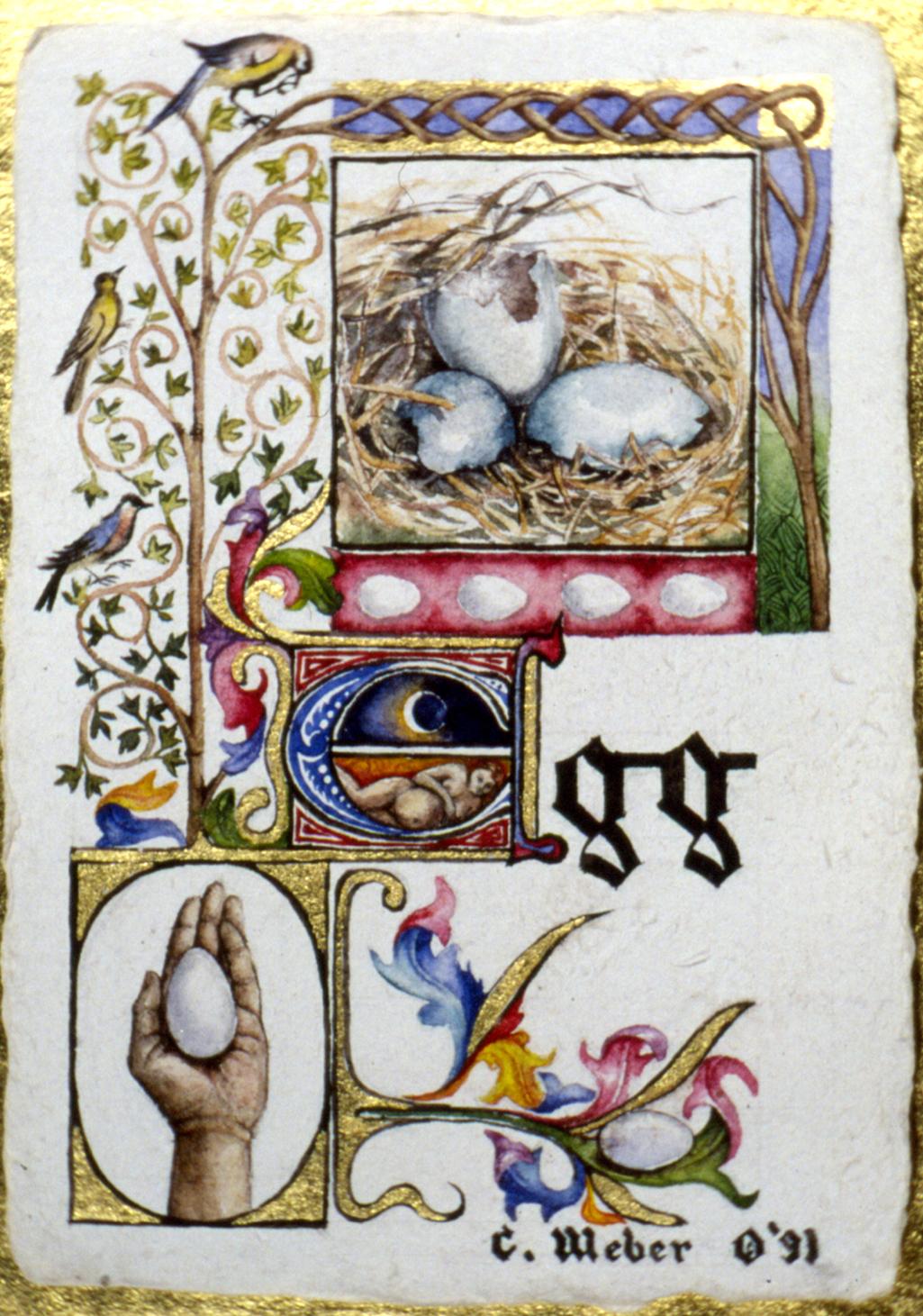 cathy weber - art - illumination - calligraphy - manuscript - watercolor - woman - egg - montana