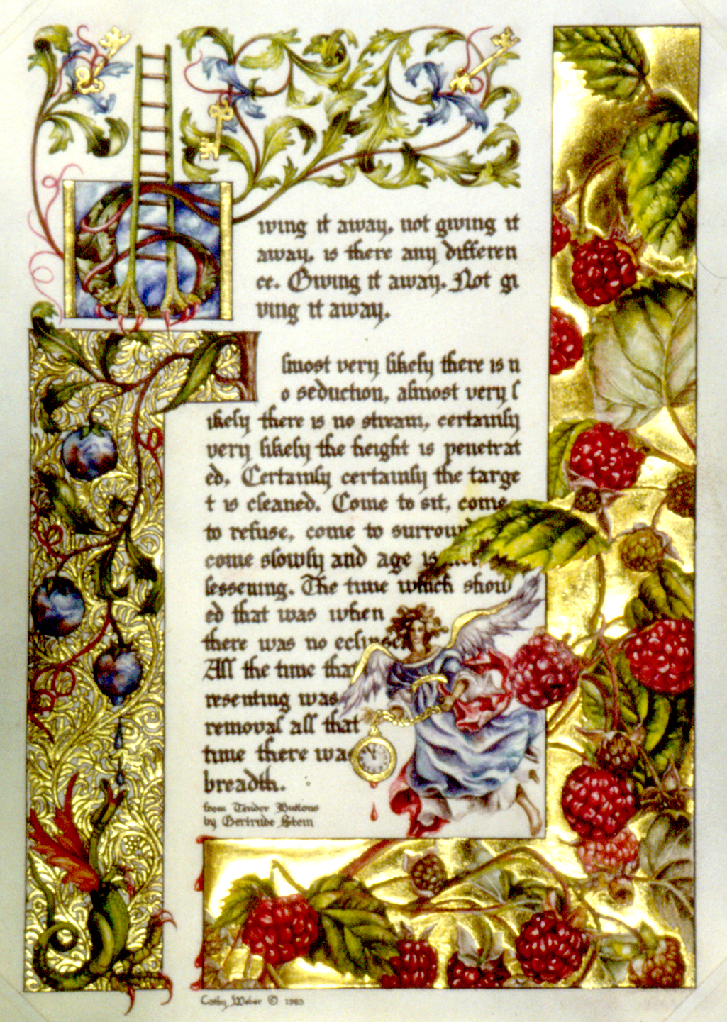 cathy weber - art - illumination - calligraphy - manuscript - watercolor - woman - rose - montana - gertrude stein - tender buttons - raspberry