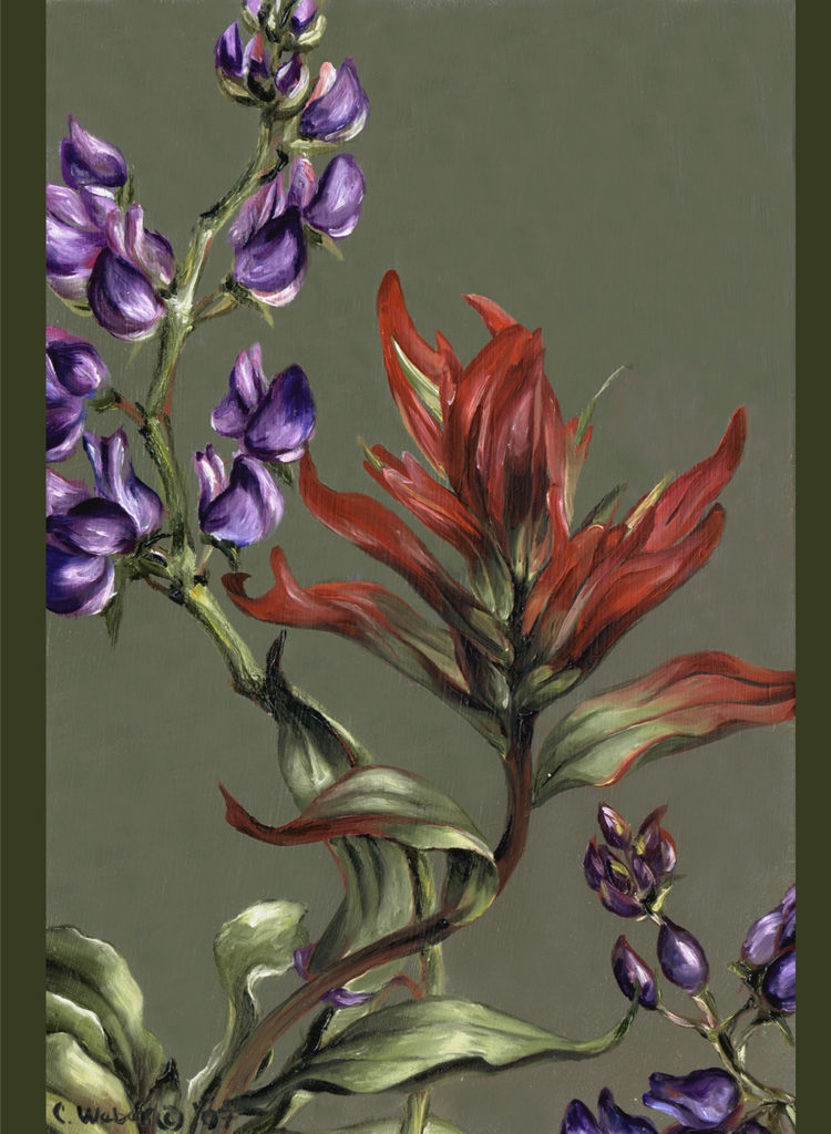 cathy - weber - artmaker - art - woman - oil - montana - painting - oil -poem - object - card - notecard - indian paintbrush