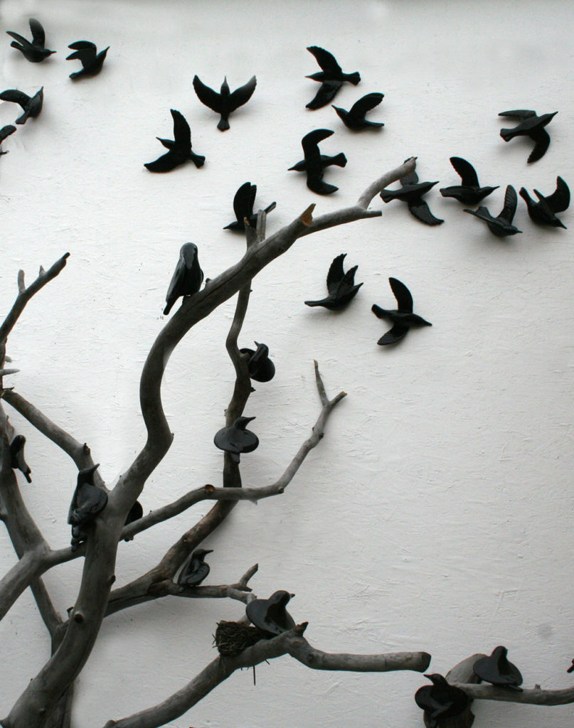 cathy weber - art - clay- woman - montana - ceramic - porcelain - bird - blackbird - flock - tree