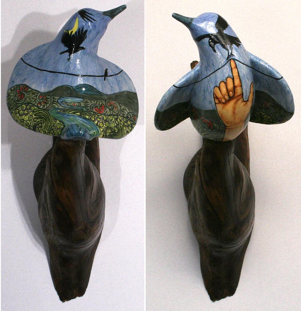 cathy weber - art - painting - woman - montana - ceramic - porcelain - bird - narrative - bird- hand - wire