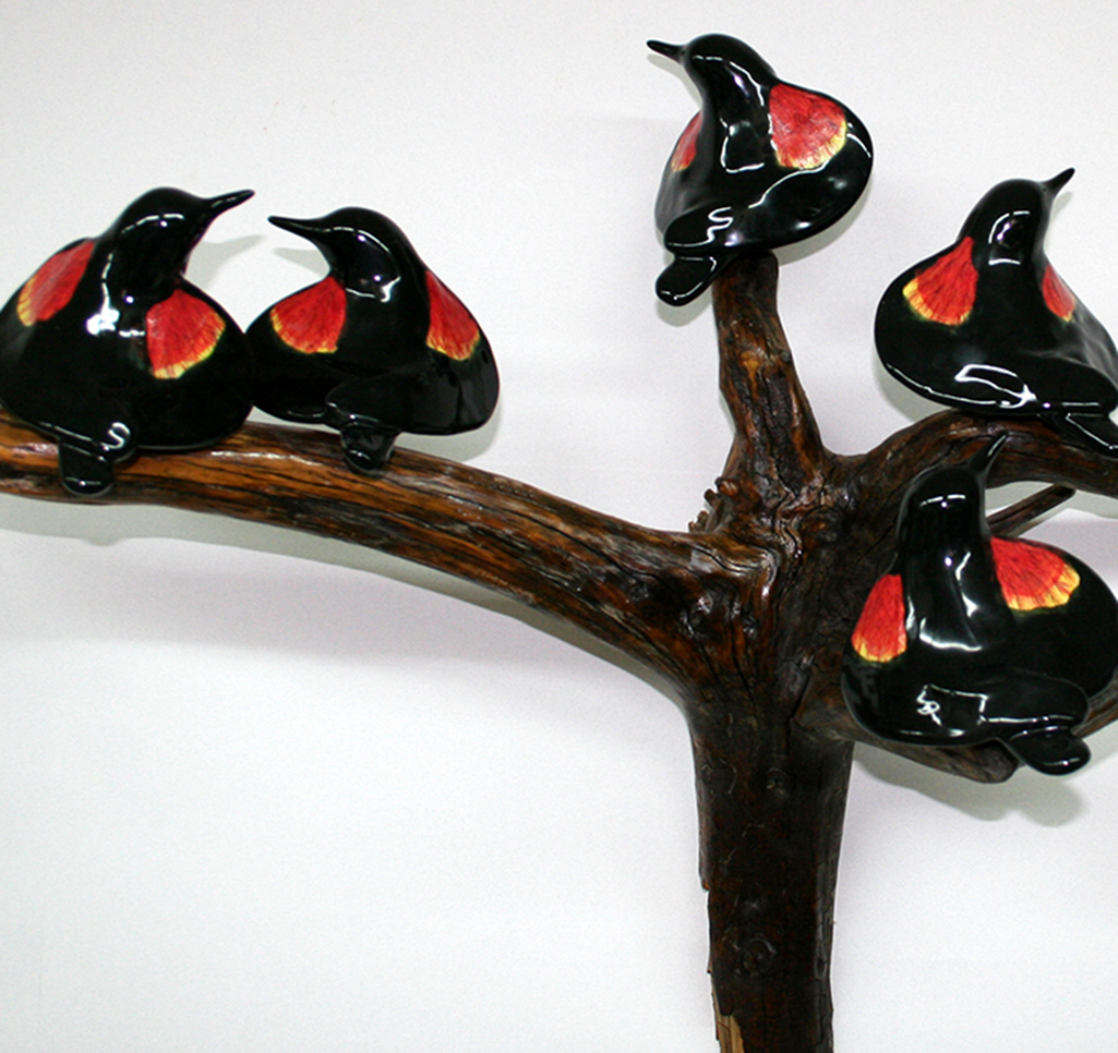 cathy weber - art - clay- woman - montana - ceramic - porcelain - bird - redwing - red winged - blackbird - flock