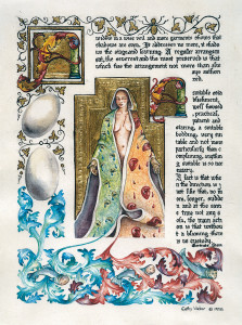 cathy weber - art - painting - woman - watercolor -illumination- montana - painting - parchment - skin - versal - gertrude stein - grief - heart - blood