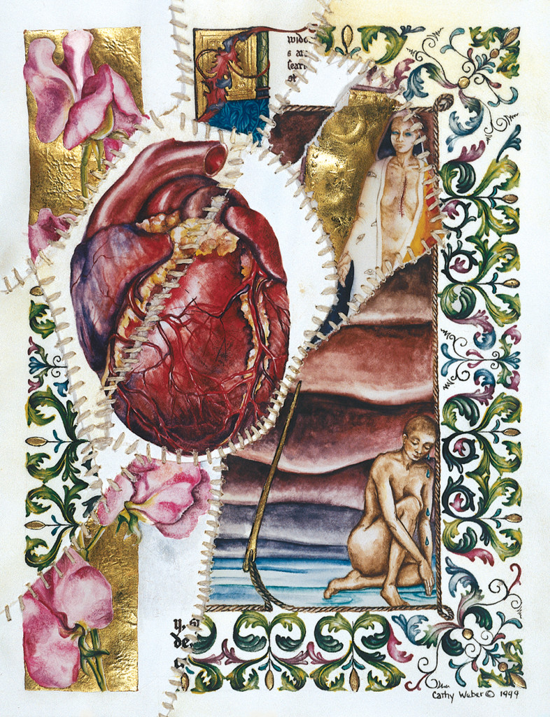 cathy weber - art - painting - woman - watercolor -illumination- montana - painting - parchment - skin - grief - heart - blood