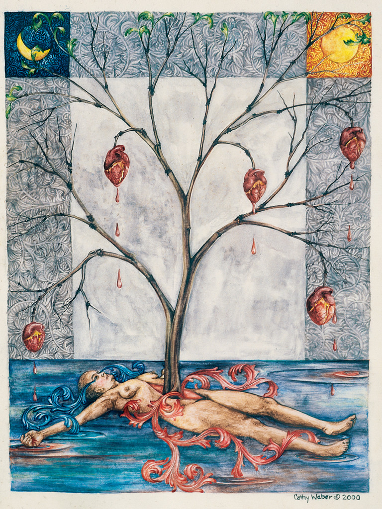 cathy weber - art - painting - woman - watercolor -illumination- montana - painting - parchment - skin - gertrude stein - grief - heart - blood - tree