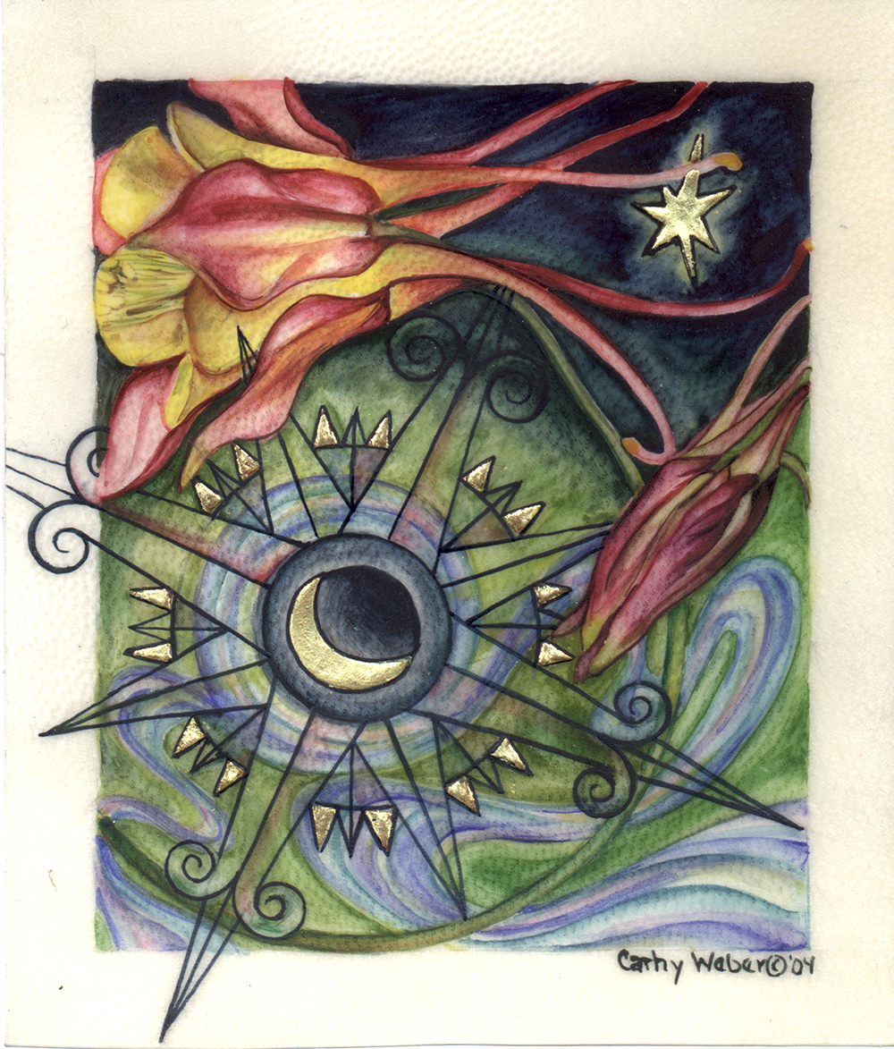 cathy weber - art - painting - woman -compass rose - watercolor - moon phase- montana - painting - parchment - skin - map