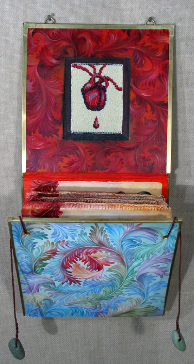 07.054 - cathy weber - art - painting - heart -woman - book art - artist book - book- object - montana - oil painting - object poem
