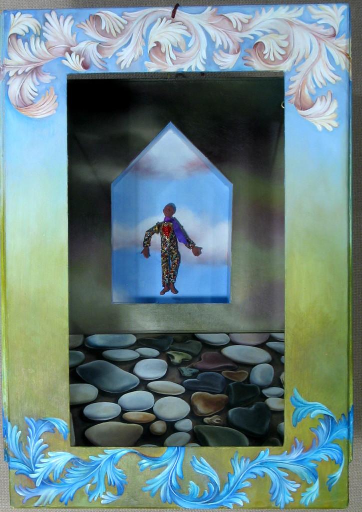 07.055 - cathy weber - art - painting - heart -woman - book art - artist book - book- object - montana - oil painting - bead - heart rock