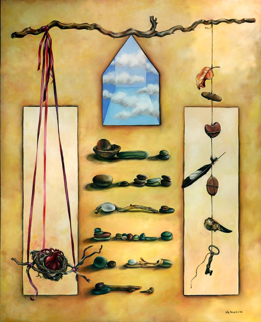 08.005 - cathy weber - artist - oil painting - montana - sky house, object poem -feather- key - woman - egg - balance - stone - art - heart - nest