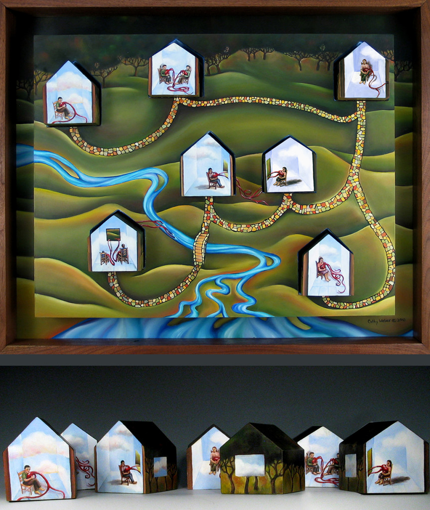 cathy weber - art - painting woman - heart -house - book art - artist book - book- river - montana - oil painting