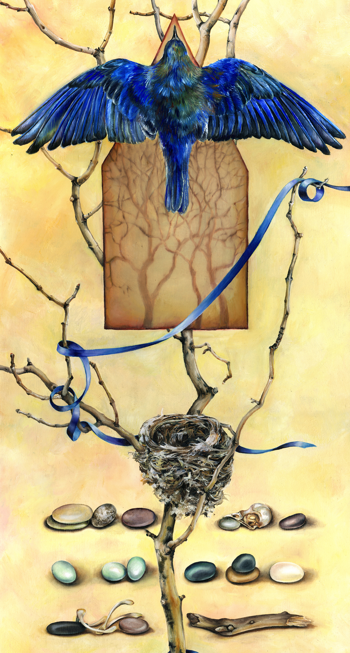 11.010 -- cathy weber - artist - oil painting - montana - woman - egg - stone - art - ribbon - nest