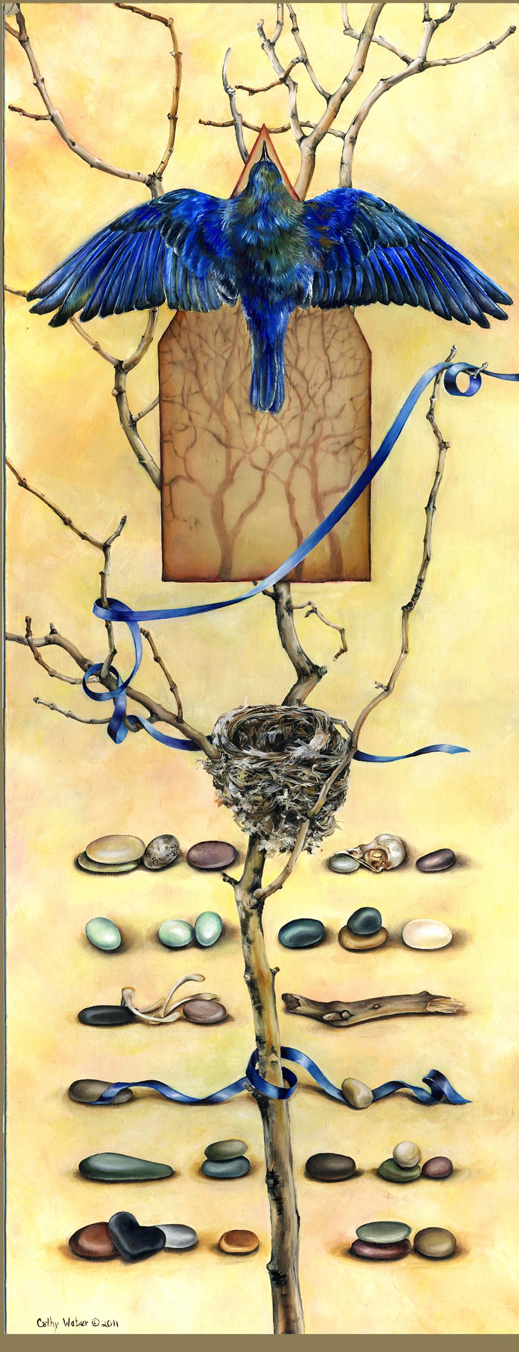 11.010 -- cathy weber - artist - oil painting - montana - woman - egg - stone - art - ribbon - nest