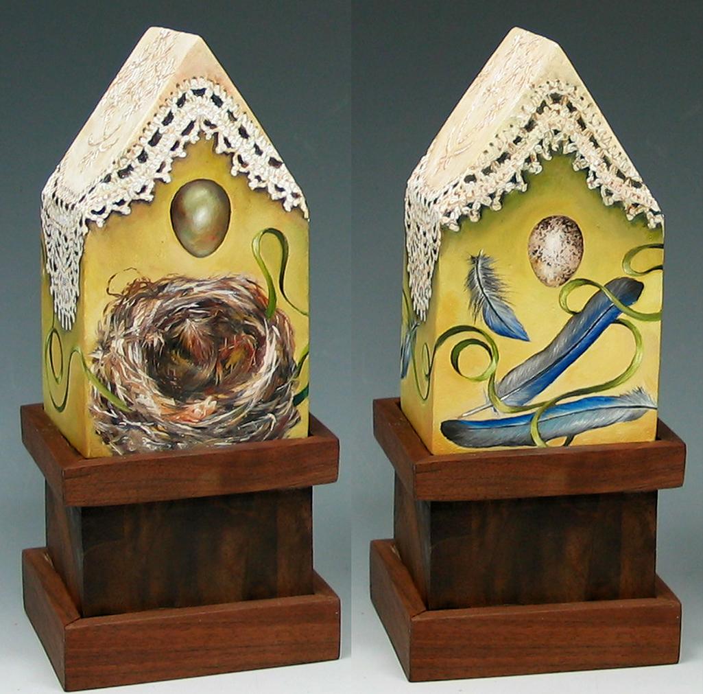 cathy weber - art - painting - woman -house - book art - artist book - book- river - montana - oil painting - crochet - nest - feather - egg