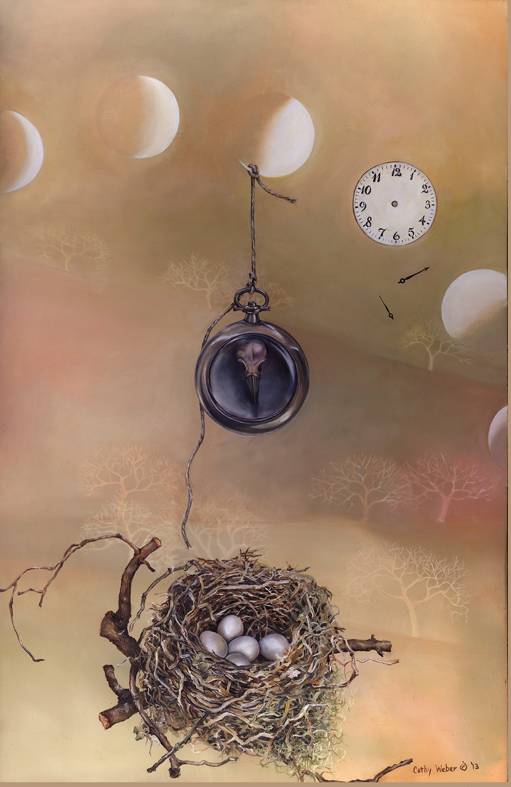 cathy weber - oil painting - Montana art - biological art - biological artifacts - object poem – artist - painted poem – art - moon phase – bird nest - nest