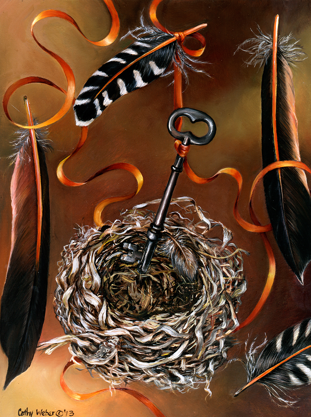 13.017 - feather - key - nest - cathy weber - artist - oil painting - objects - biological objects - ribbon