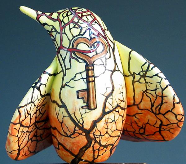 cathy weber - art - painting - woman - montana - ceramic - porcelain - bird - narrative - bird - hand - key - heart - tree