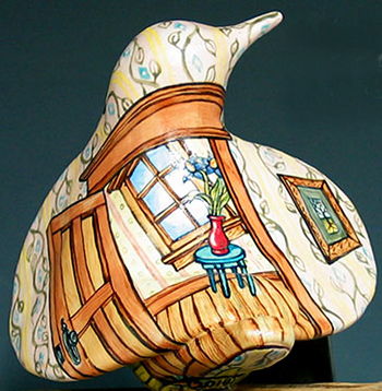 cathy weber - art - painting - woman - montana - ceramic - porcelain - bird - narrative - door - window - heart