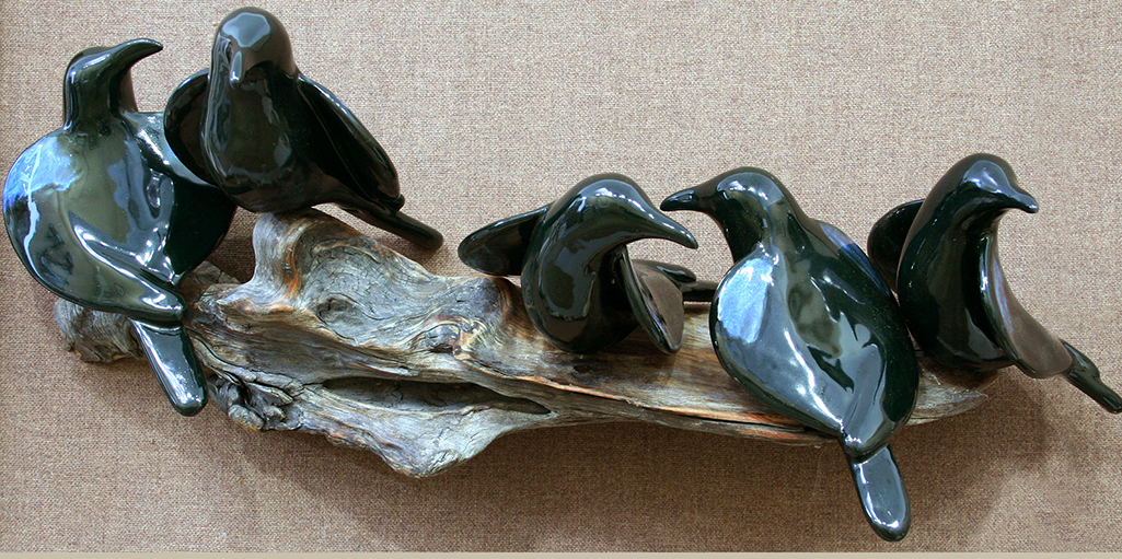 cathy weber - art - clay- woman - montana - ceramic - porcelain - bird - raven - crow - corvid - blackbird