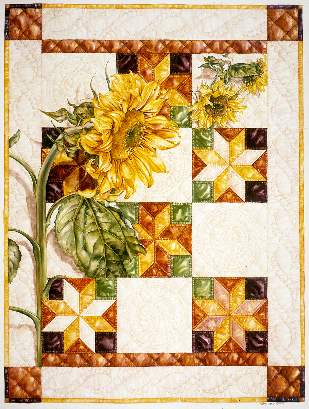cathy weber - art - watercolor - sunflower - quilt - stitch - montana