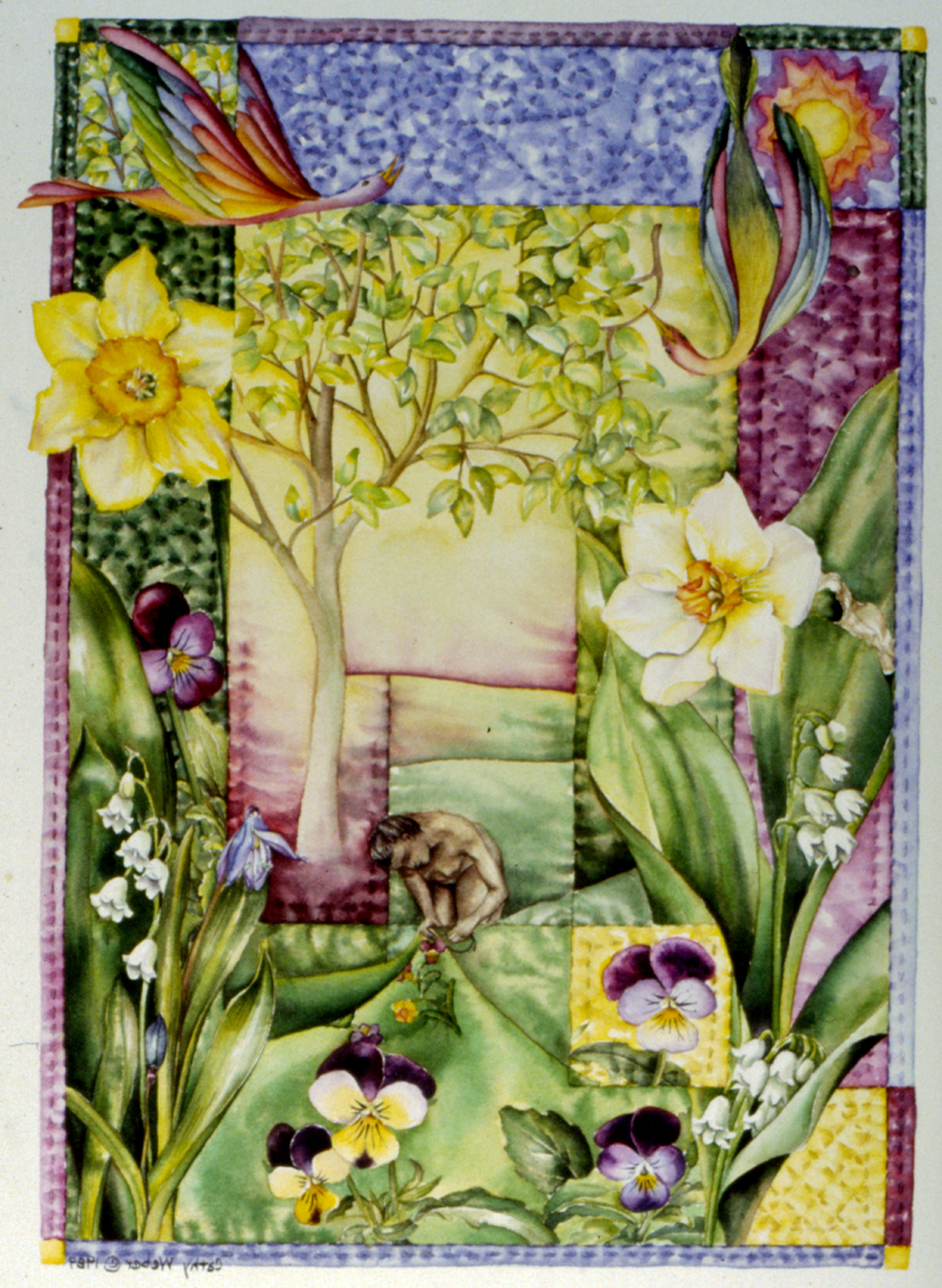 cathy weber - art - holy card - holycard - quilt - watercolor - forest - woman - flower - stitcher - stitch - montana