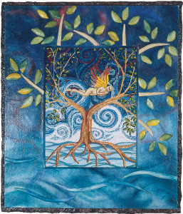 cathy weber - art - painting - woman - watercolor -illumination- montana - painting - parchment - skin - gertrude stein - grief - heart - tree - blood - embroidery