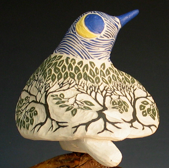 cathy weber - art - clay- woman - montana - ceramic - porcelain - bird - red wing - redwing - forest - carved