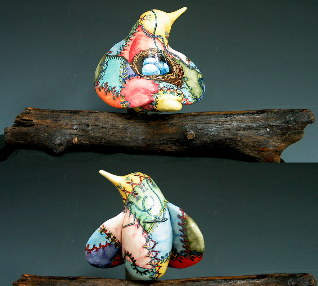 cathy weber - art - bird - clay - ceramic - creation - stitcher - stitch - montana- wildflower - crazy - quilt