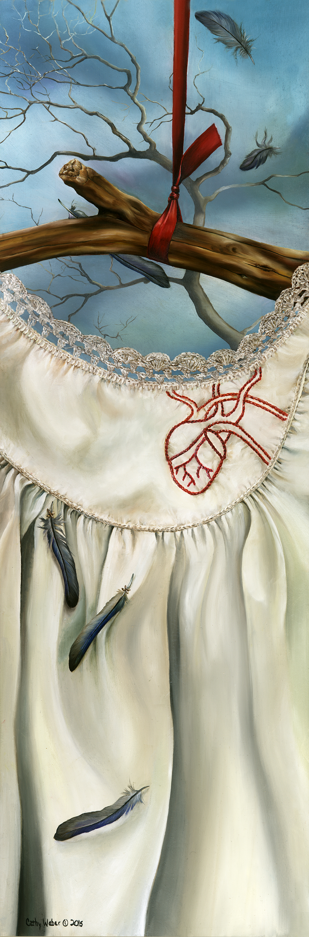 cathy weber - art - watercolor - creation - stitcher - stitch - montana - embroidery - crochet - feather - heart