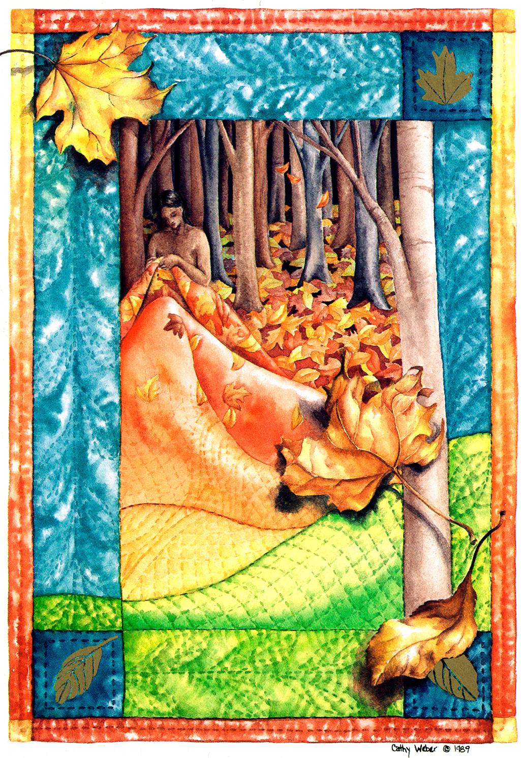 cathy weber - art - holy card - holycard - quilt - watercolor - creation - stitcher - stitch - montana- fall - leaves - quilter