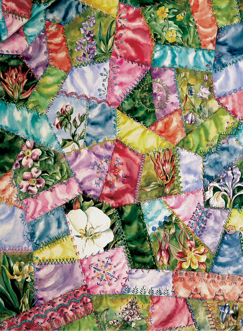 cathy weber - art - watercolor - creation - stitcher - stitch - montana- wildflower - crazy - quilt