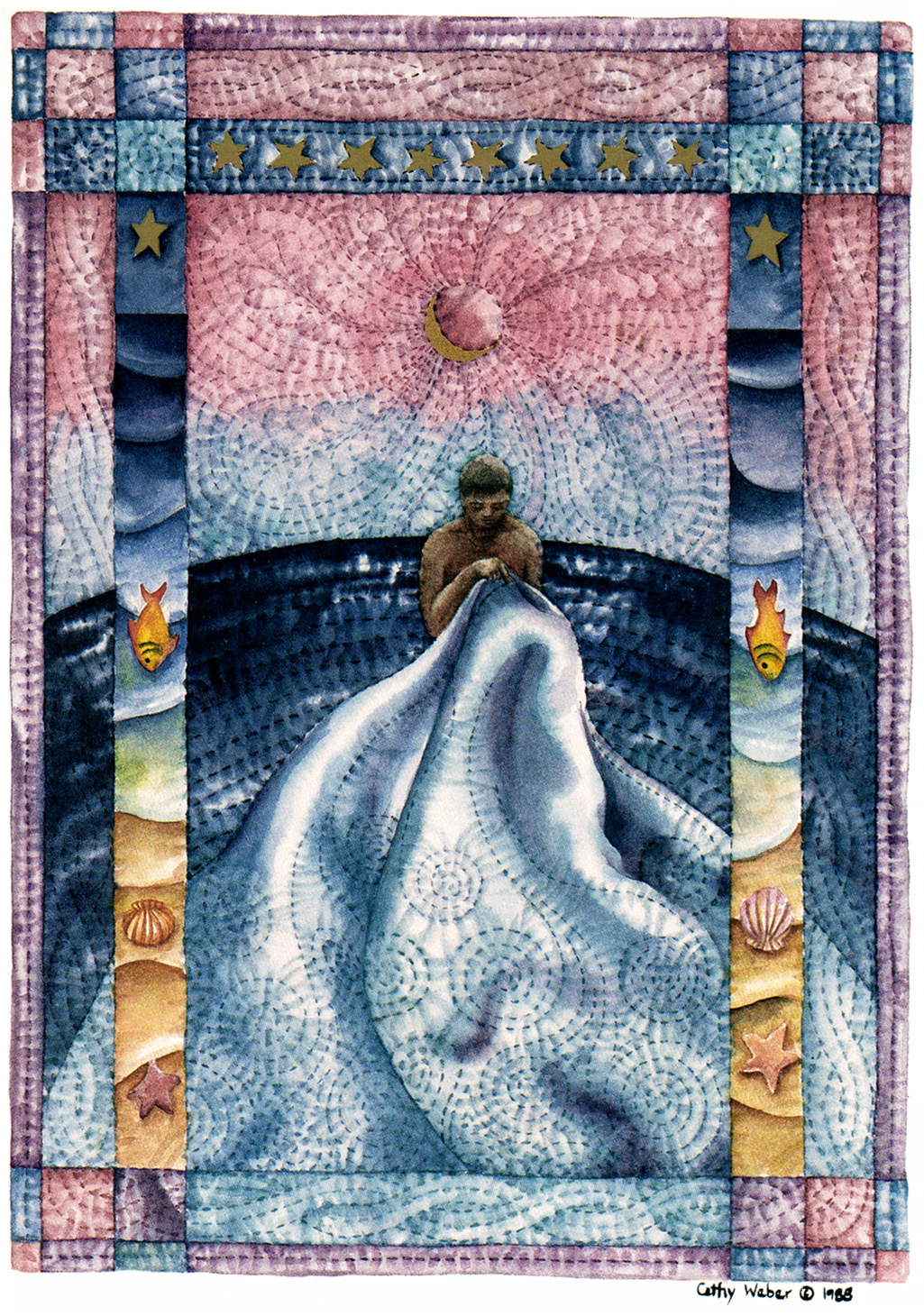cathy weber - art - holy card - holycard - quilt - watercolor - creation - stitcher - stitch - montana- water - quilter