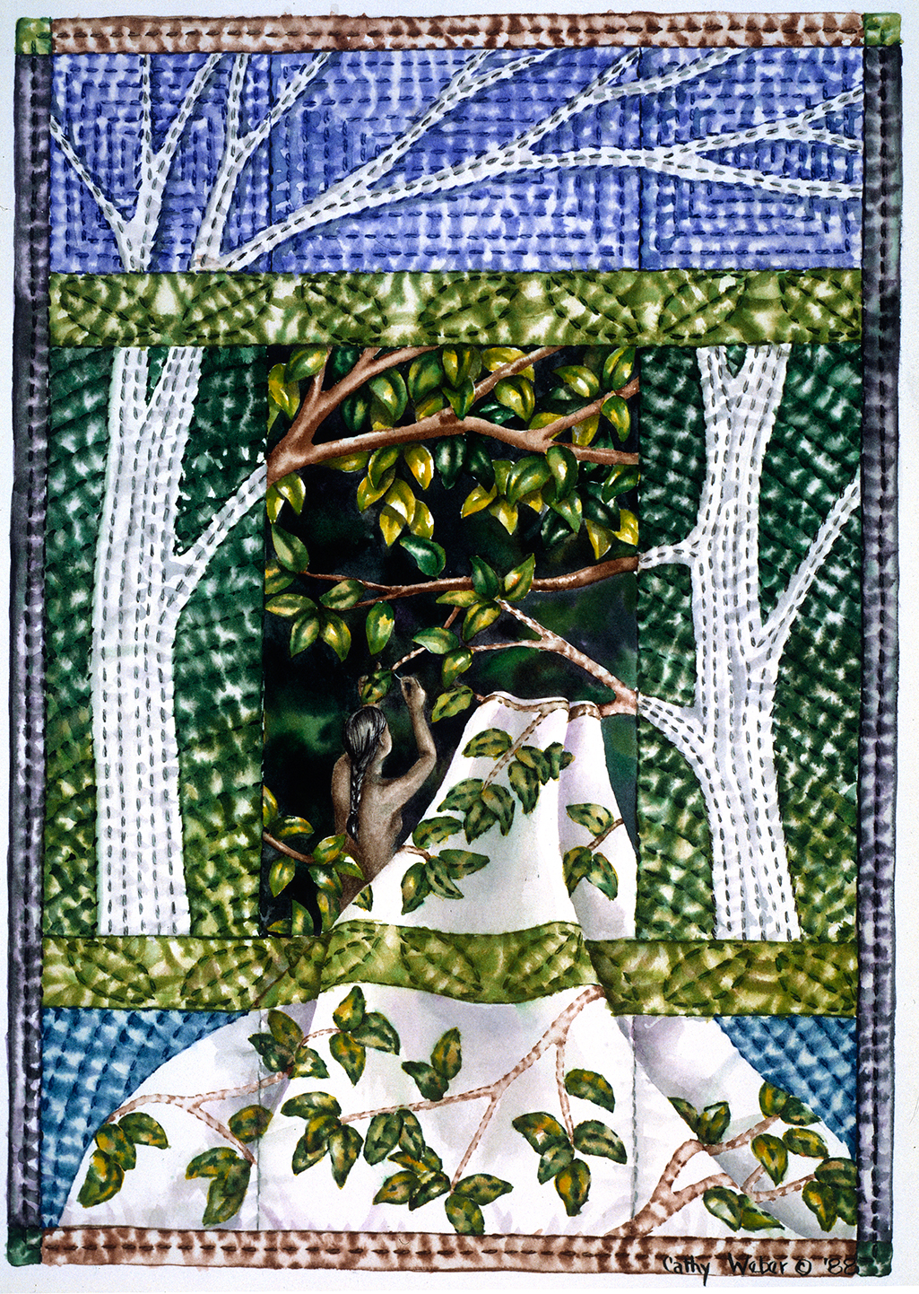cathy weber - art - holy card - holycard - quilt - watercolor - creation - stitcher - stitch - montana- forest - green - leaves - quilter