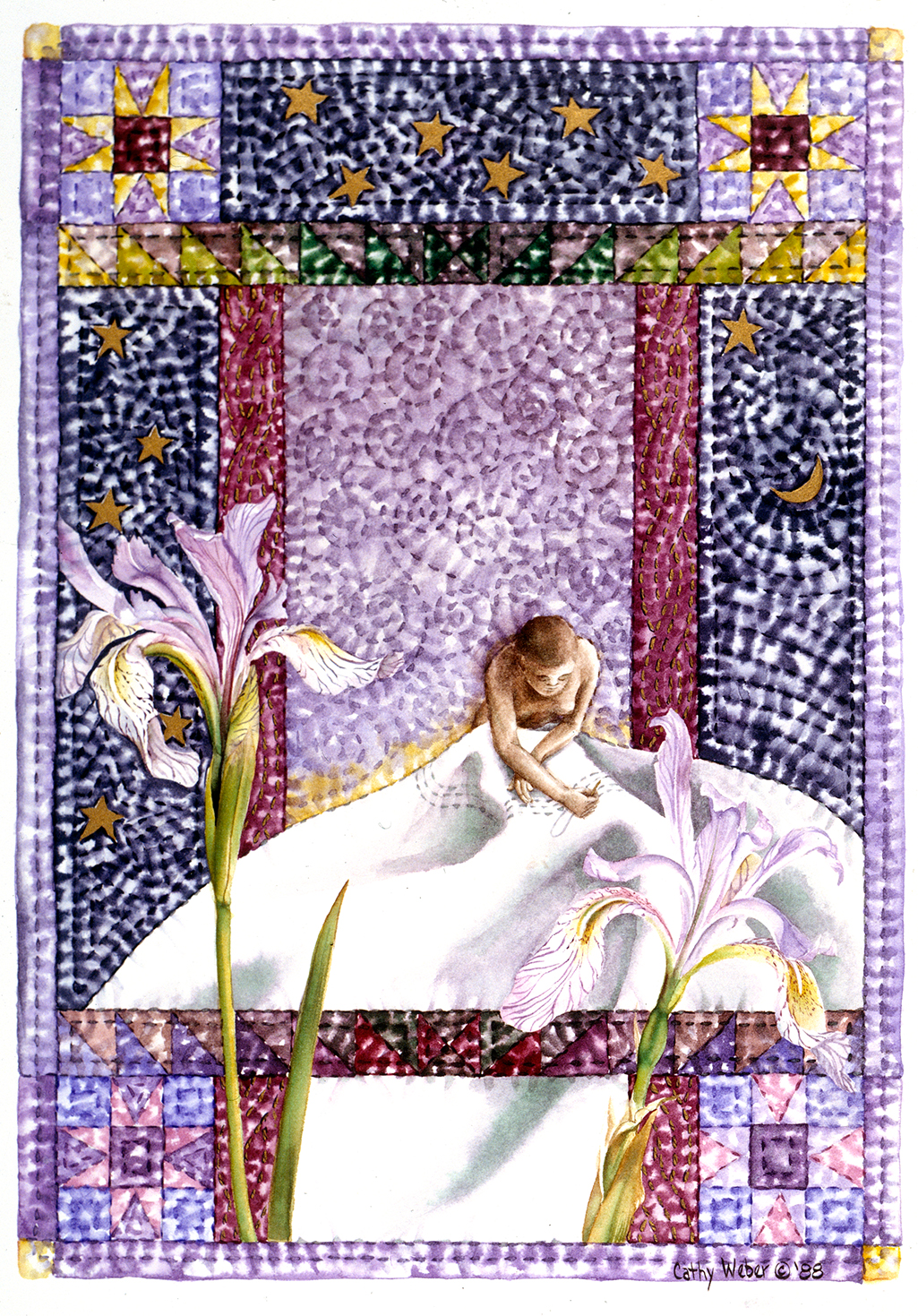 cathy weber - art - holy card - holycard - quilt - watercolor - creation - stitcher - stitch - montana- iris - quilter